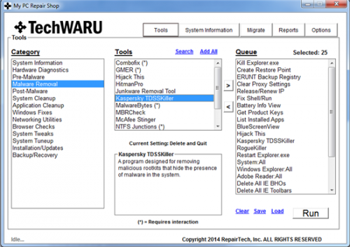 RepairTech-TechWARU-main screen